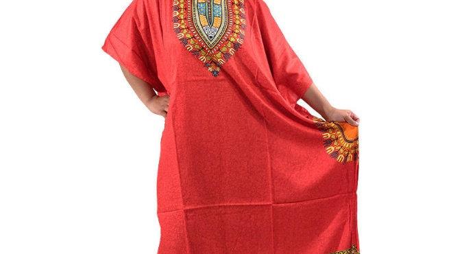 Traditional Print Kaftan Red