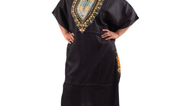 Traditional Print Kaftan Black
