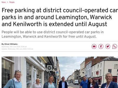Free parking at district council-operated car parks in and around Leamington, Warwick and Kenilworth