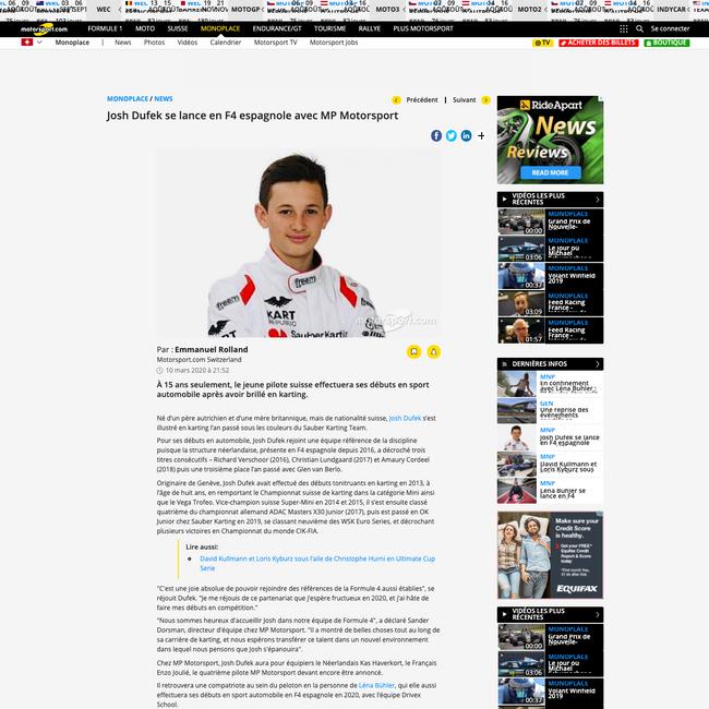 Josh Dufek se lance en F4 espagnole avec