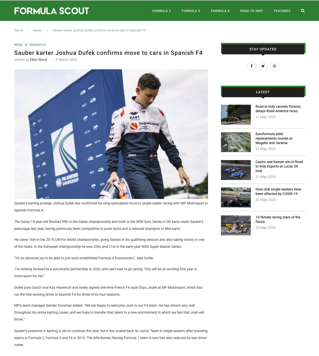 Sauber karter Joshua Dufek confirms move
