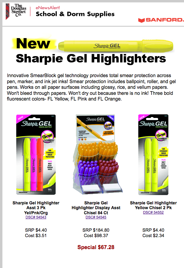 SDS eNews Alert - New Sharpie Gel Highlighters
