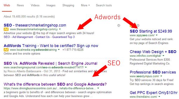 seo và google adwords