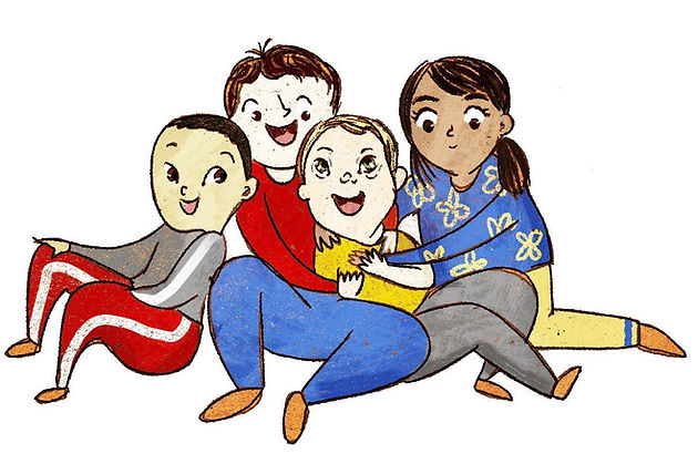 A group of children sitting together and embracing a friend who has Down syndrome