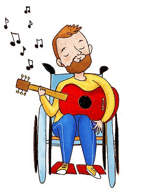 A man in a wheelchair playing the guitar