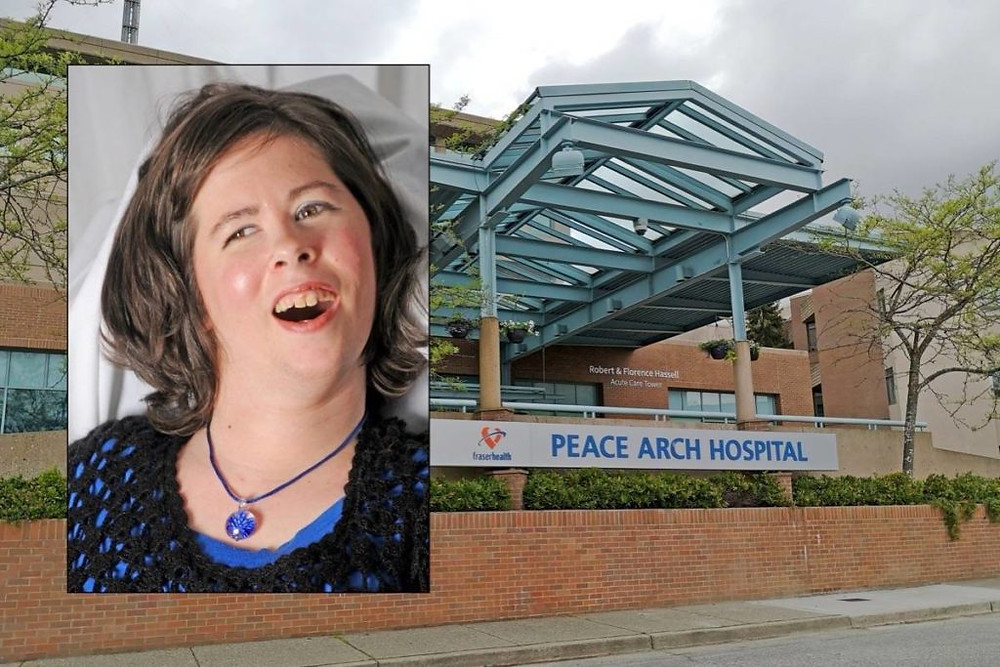A photo of Ariis Knight, with Peach Arch Hospital in the background