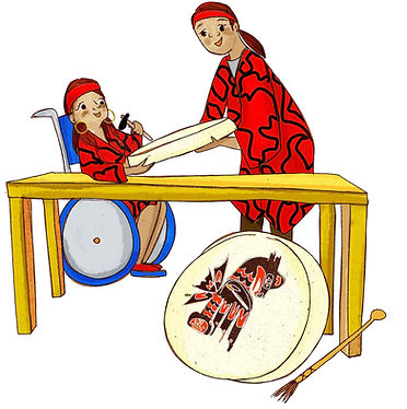 An Indigenous woman in a wheelchair crafts a traditional drum with under the guidance of an elder