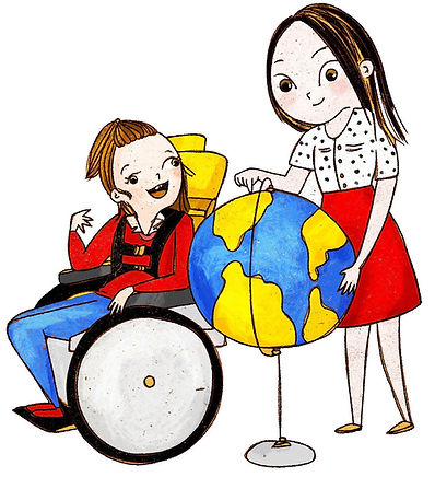 A disabled girl in a wheelchair and her friend look at a globe