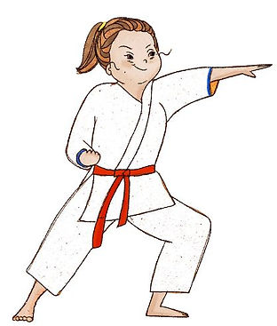A young woman with Down syndrome practicing martial arts