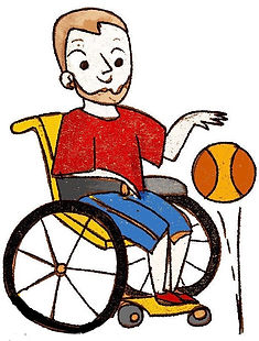 Man in wheelchair dribbles basketball