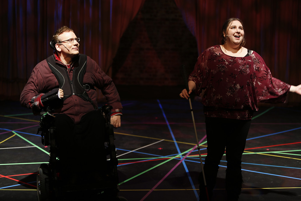 Actress Amy Amantea performs in a Realwheels production