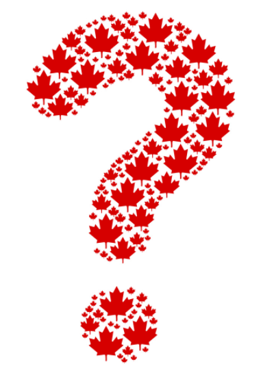 A red question mark made up of maple leaves