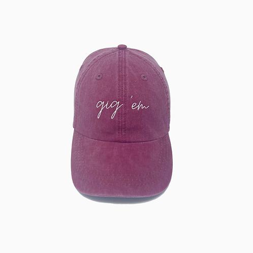 Gig 'Em Embroidered Pigment-Dyed Baseball Cap