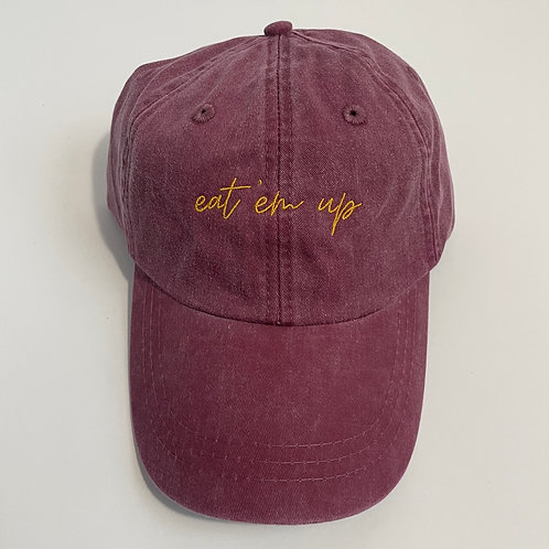 Eat 'Em Up Baseball Cap - Burgundy/Gold