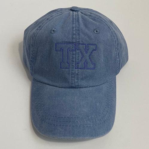 State Abbreviation Baseball Cap - TX - Periwinkle/Periwinkle