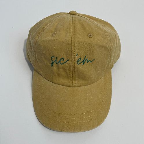 Sic 'Em Baseball Cap - Mustard/Teal