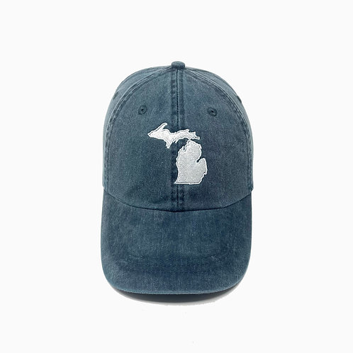 Michigan (MI) State Embroidered Pigment-Dyed Baseball Cap