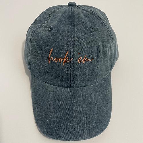 Hook 'Em Baseball Cap - Navy/Burnt Orange