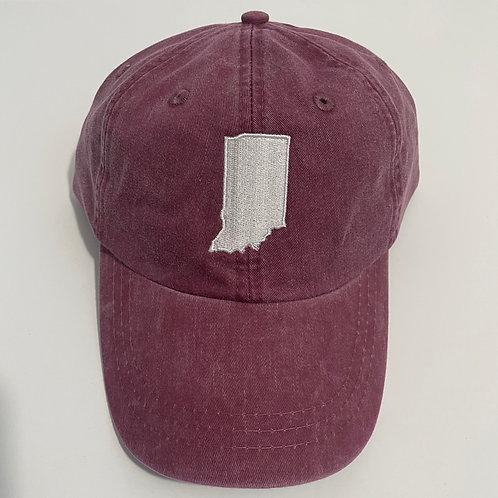 Indiana State Baseball Cap - Burgundy/White