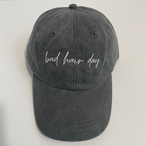 Bad Hair Day Baseball Cap - Charcoal/White