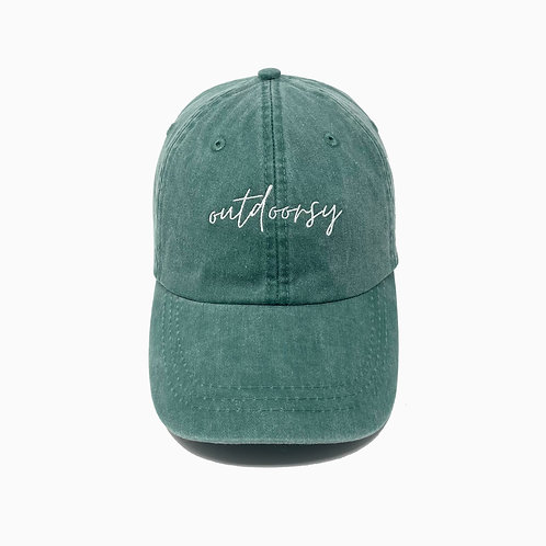 Outdoorsy Embroidered Pigment-Dyed Baseball Cap