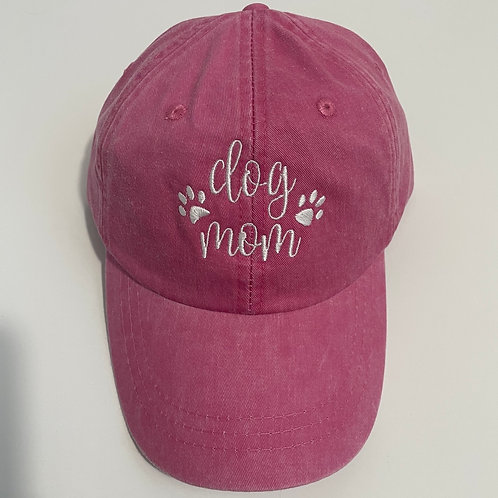 Dog Mom Baseball Cap - Hot Pink/White