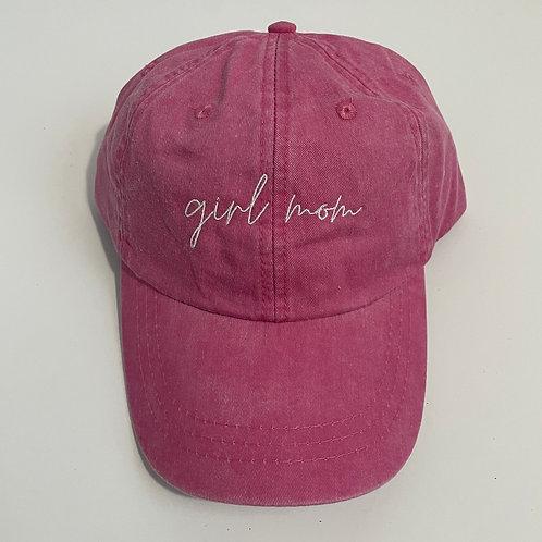 Girl Mom Baseball Cap - Hot Pink/White