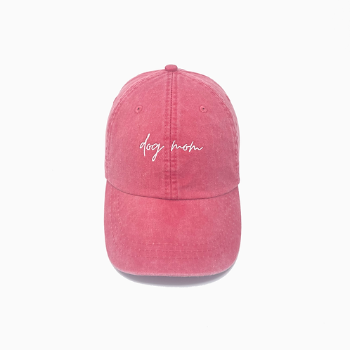 Dog Mom Embroidered Pigment-Dyed Baseball Cap