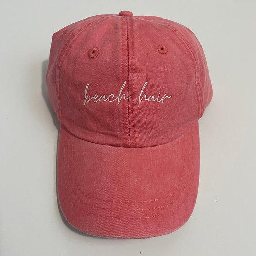 Beach Hair Baseball Cap - Coral/White
