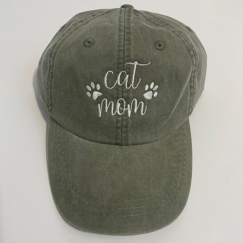 Cat Mom Baseball Cap - Cactus/White
