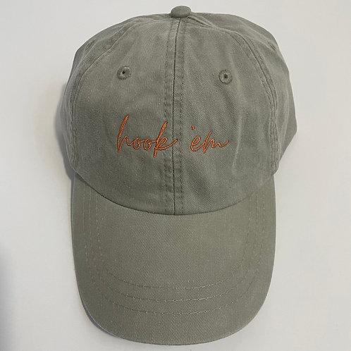 Hook 'Em Baseball Cap - Stone/Burnt Orange