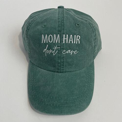 Mom Hair, Don't Care Baseball Cap - Forest/White