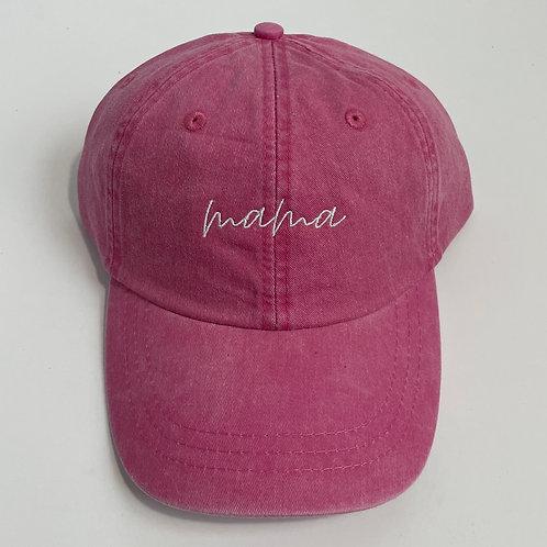 Mama Baseball Cap - Hot Pink/White