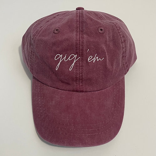 Gig 'Em Baseball Cap - Burgundy/White