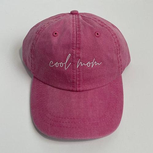 Cool Mom Baseball Cap - Hot Pink/White