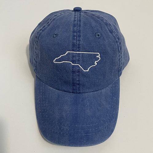 North Carolina State Outline Baseball Cap - Royal Blue/White
