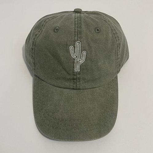 Minimalist Cactus Baseball Cap - Cactus/White