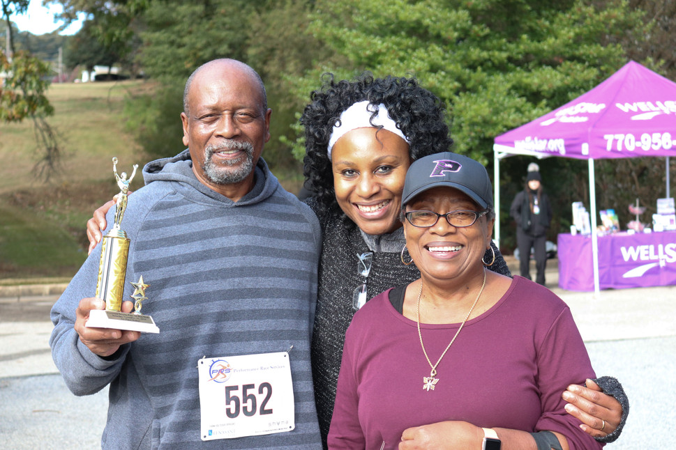 "Dr. Orjioke and the winner for the ""Walkers""  Covenant Pulmonary Critical Care Inaugural Breathe Easy 5K Run & Walk  Saturday - November 16, 2019  Photo: VISDECO"