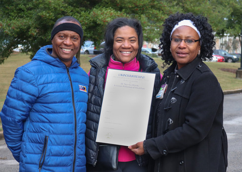 Dr. Orjioke recieving a proclamation from Mayor of East Point, Deana Holiday Ingraham  Covenant Pulmonary Critical Care Inaugural Breathe Easy 5K Run & Walk  Saturday - November 16, 2019  Photo: VISDECO