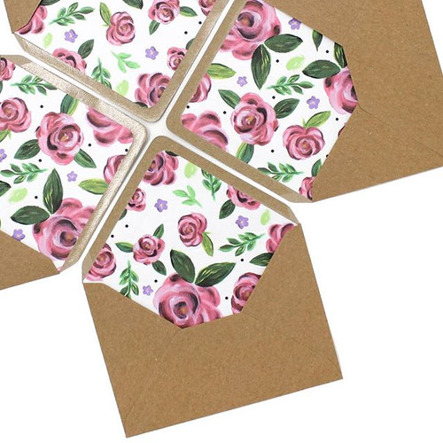 Hand painted pink roses adding a pop to