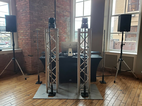 2 Chauvet Smart Moving Fixtures and 2 Truss Totems