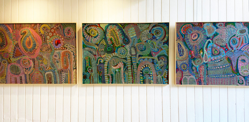 From left to right- 'Spilled Secrets ' 'Lilypad' 'To The Evening Star'