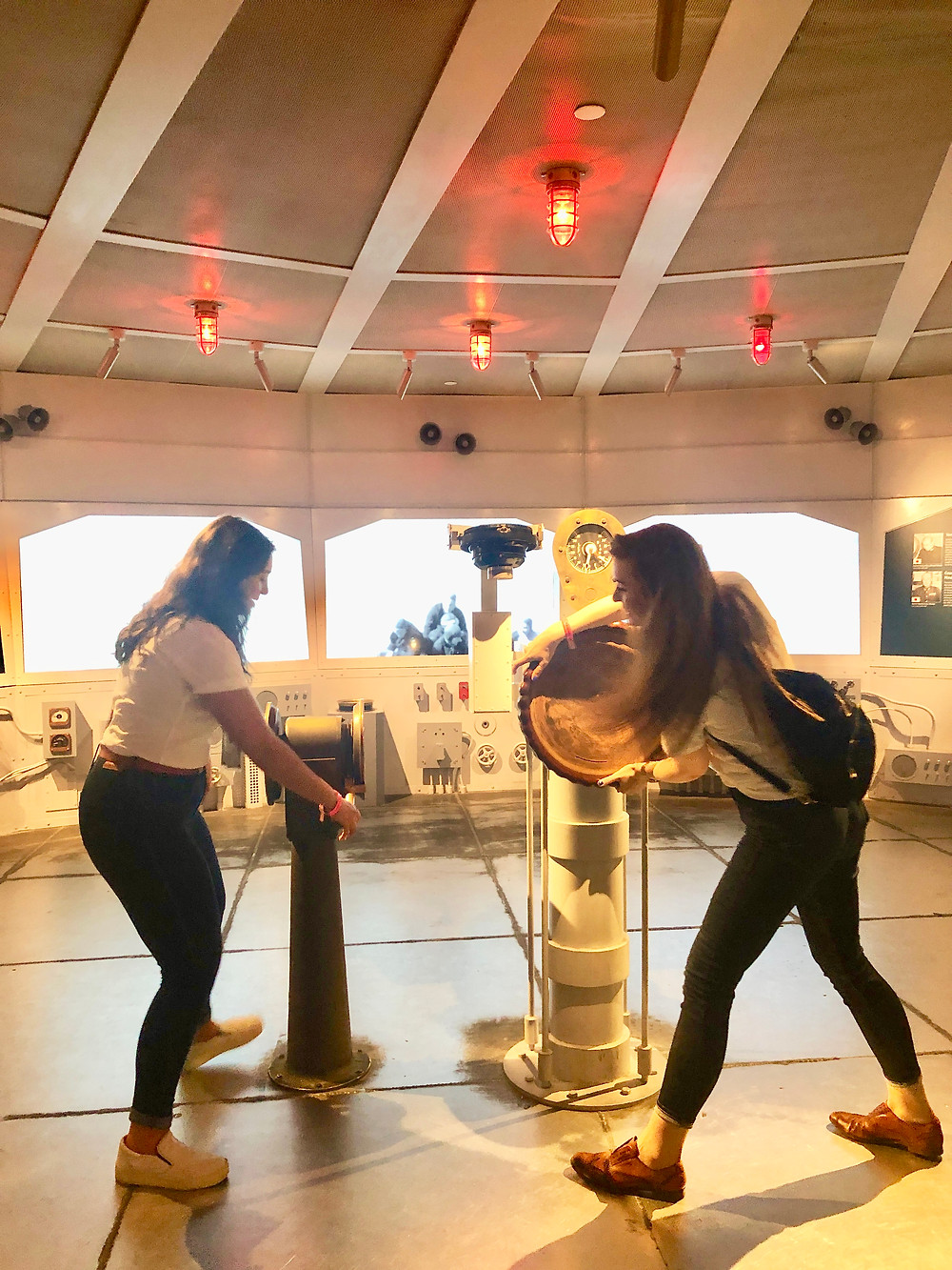 Nancy and Melaina having a blast at the WWII Museum!