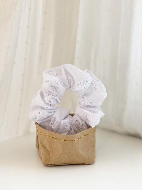 White Eyelet Scrunchie