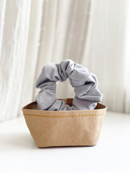 Gray Raw Silk Scrunchie