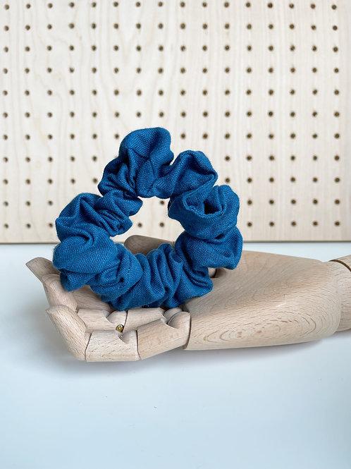 Blue Linen Scrunchie