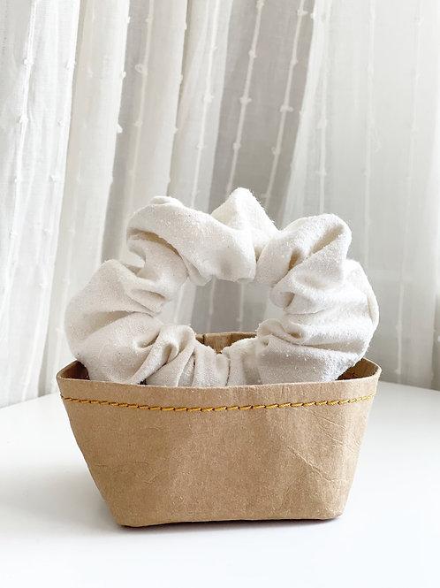 White Raw Silk Scrunchie