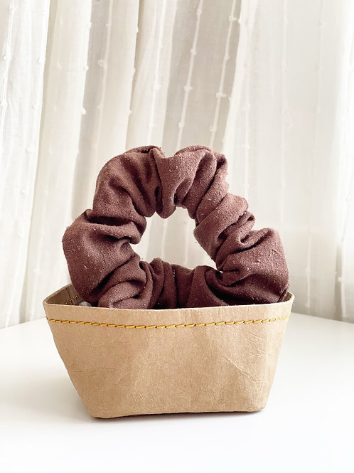 Brown Raw Silk Scrunchie