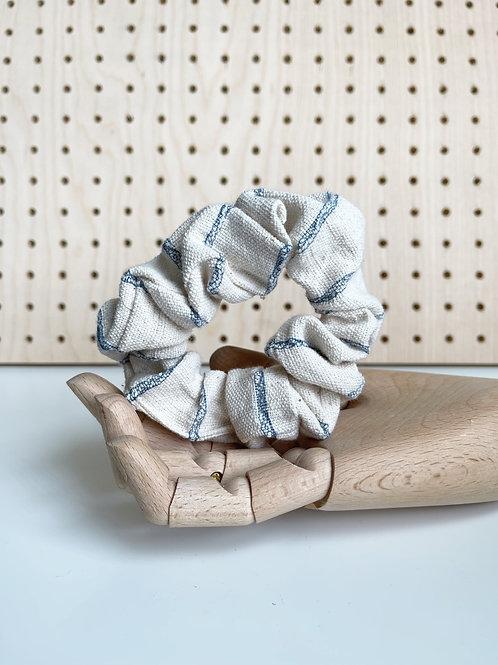 Ivory Blue Patterned Scrunchie
