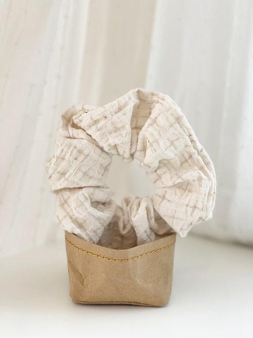 Cream Patterned Scrunchie